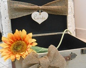 Wedding Card Box Vintage Style Shabby Chic Rustic Natural Burlap Suitcase Card Holder Photo        Prop