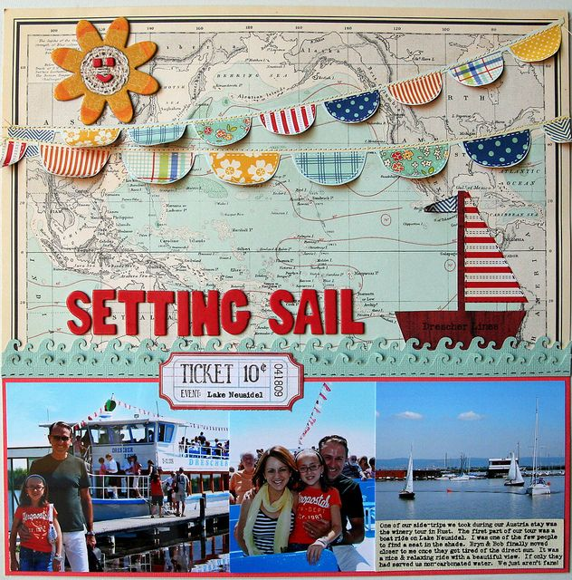 Setting sail...LOVE the map background, wave border, banners, happy sun, ticket, and even the name of the boat line on the sailboat cutout. The colours and layout design work really well together!