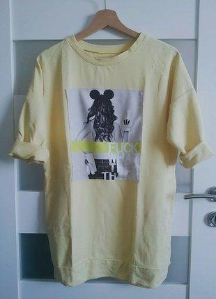 Kup mój przedmiot na #vintedpl http://www.vinted.pl/damska-odziez/bluzy/16427367-cytrynowa-dluga-bluza-mickey-odwazna-s-m-l-hit