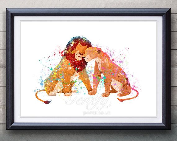 Disney Lion King Simba and Nala Watercolor Poster Print - Wall Decor - Watercolor Painting - Watercolor Art - Kids Decor- Nursery Decor