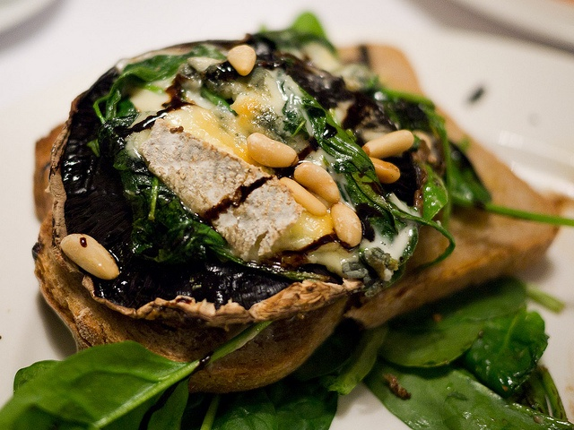 Grilled field mushroom (on rye with blue cheese, spinach, balsamic ...