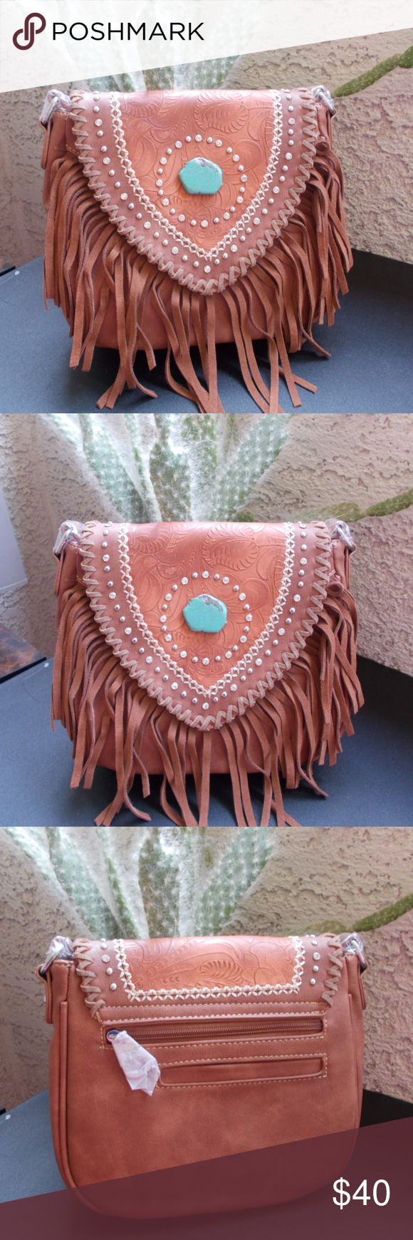 NEW Montana West Brown Fringe Crossbody Bag Made of PU leather, this crossbody bag has: Tooling on the flap with saddle stitch, silver studs and rhinestones Accented with a turquoise stone Leather fringe on the front A zipper enclosure on top of the bag Inside single compartment divided by a medium zippered pocket Inside of bag include a zippered pocket and 2 open pockets A zippered and a open pocket on the back Metal feet on the bottom for protection and stability A crossbody adjustable…