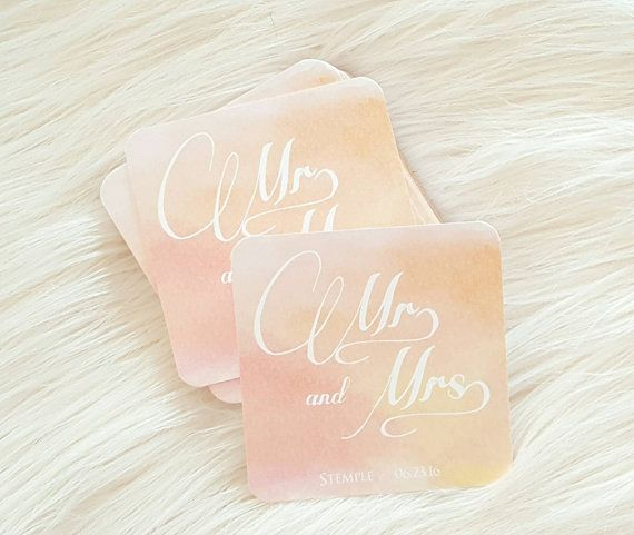 Personilized Wedding Coasters - Rustic Peach Wedding Coasters - Costers Personialized - Bridal Shower Favors - Drink Coasters  Party Coaster