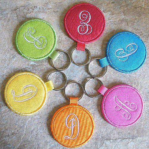 Image Detail for - fabric monogrammed key fob for your keys these bright key chains ...