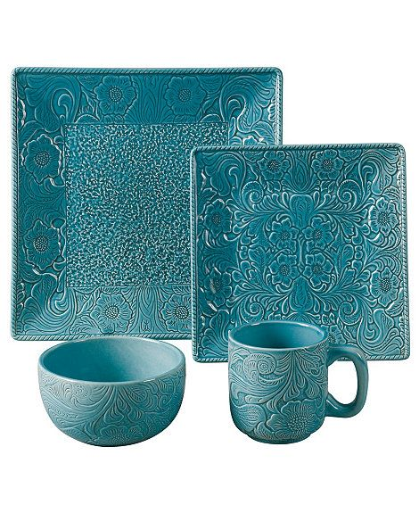 Savannah Turquoise Dinnerware Set