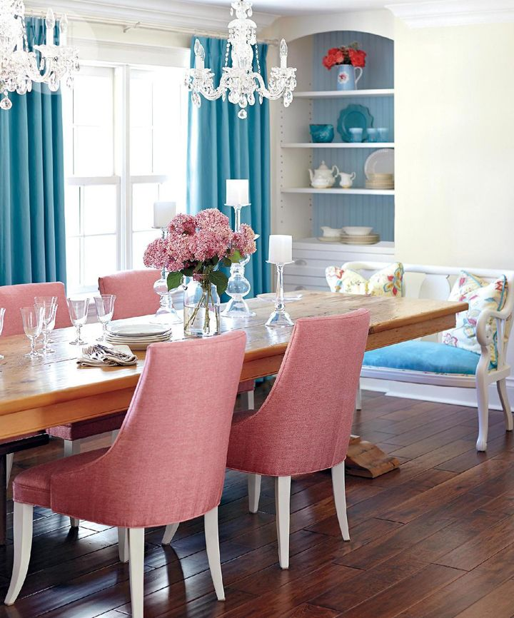 pink and blue dining room stacy mclennan interiors - Blue Dining Room Furniture