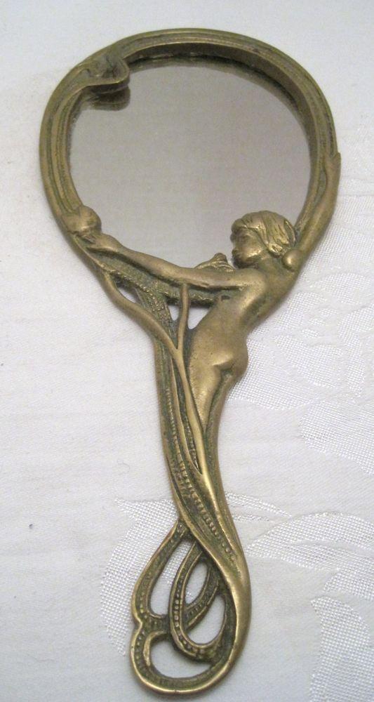 Art Deco Style Brass Nude Woman Dresser Vanity Hand Mirror