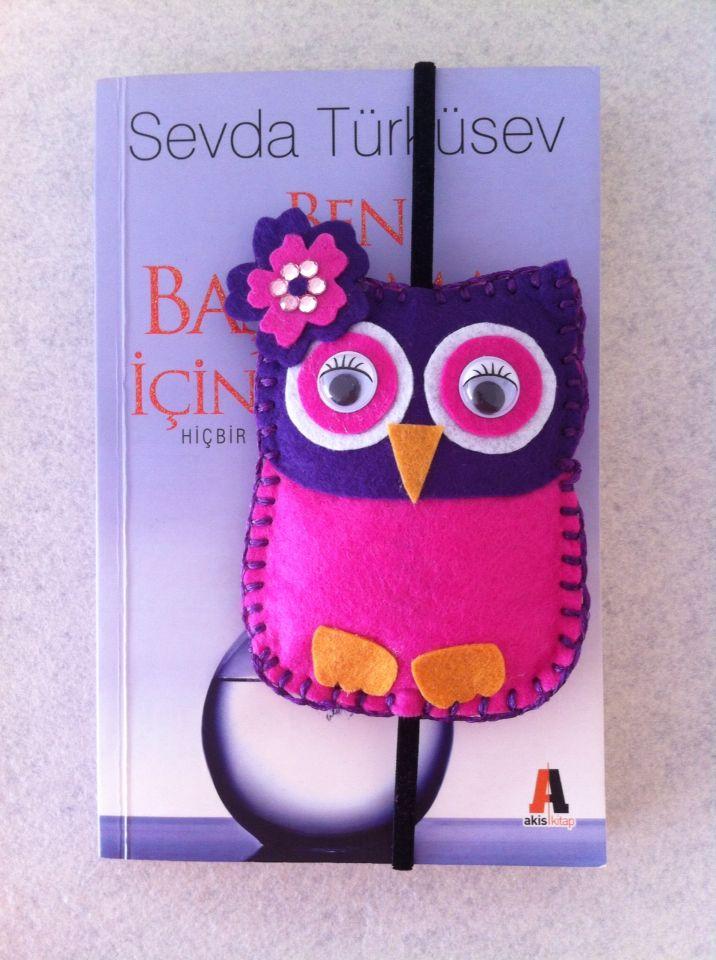 Baykuş keçeden kitap ayracı