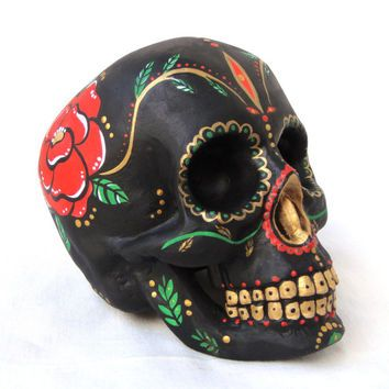Mexican Day of the Dead Ceramic Skull - Sugar Skull Dia de los Muertos Style - Original Art Custom Painted - One of a kind!