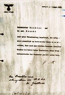 "Hitler's order for Action T4, which was a program of forced euthanasia in wartime Nazi Germany.  German physicians were directed to sign off patients ""incurably sick, by critical medical examination"" and then administer to them a ""mercy death"".  The evidence — including faked death certificates, deception of the victims and of the victims' families, and widespread use of cremation — indicates the killing was done solely according to the socio-political aims and beliefs of the perpetrators."