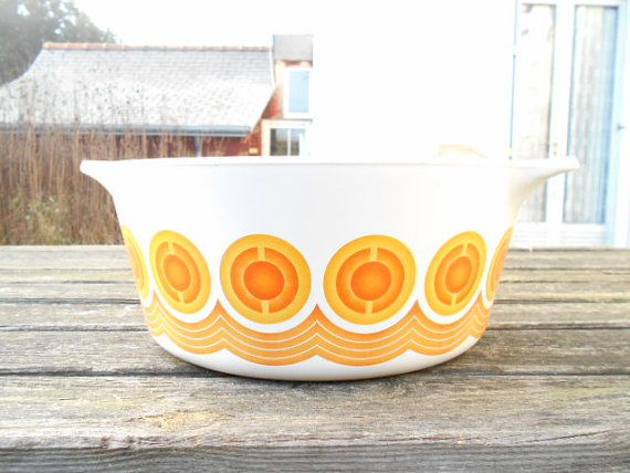 Large Pyroflam 70's ovenware, vintage orange decor.
