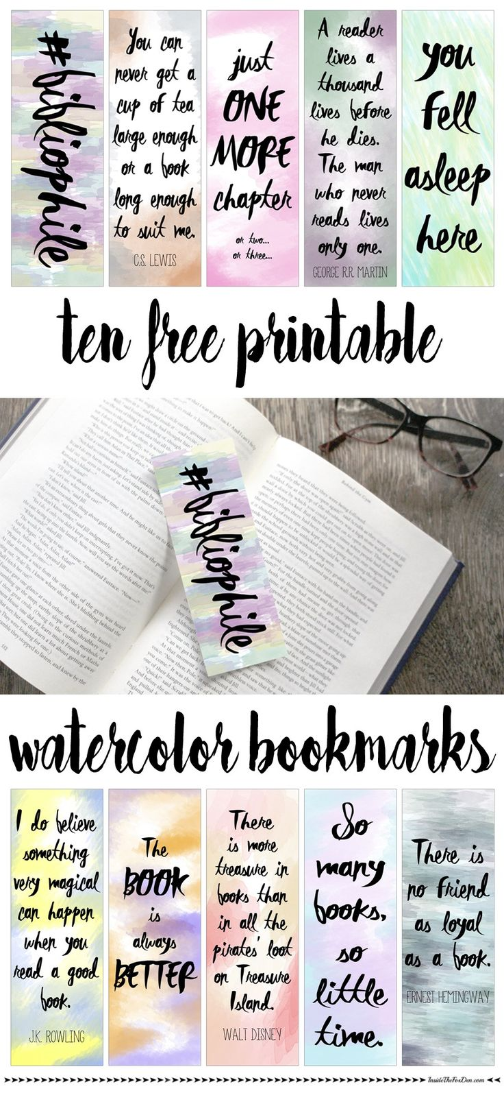 Free printable watercolor bookmarks