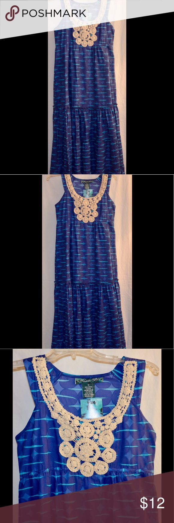 "Crochet Embellished Summer Cotton Dress Super Cute and Billowy Fresh Cotton Maxi. Bust Measures 16"" Across Lying Flat. 100% Cotton With Side Zip. Haute Blu Dresses Maxi"