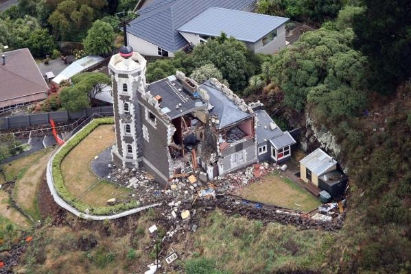 Christchurch aerial photograph of the Lyttelton timeball station