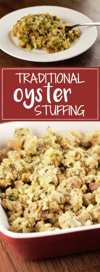 Traditional Oyster Stuffing is perfect for Thanksgiving dinner: buttery, savory, and rich with oysters and pine nuts.