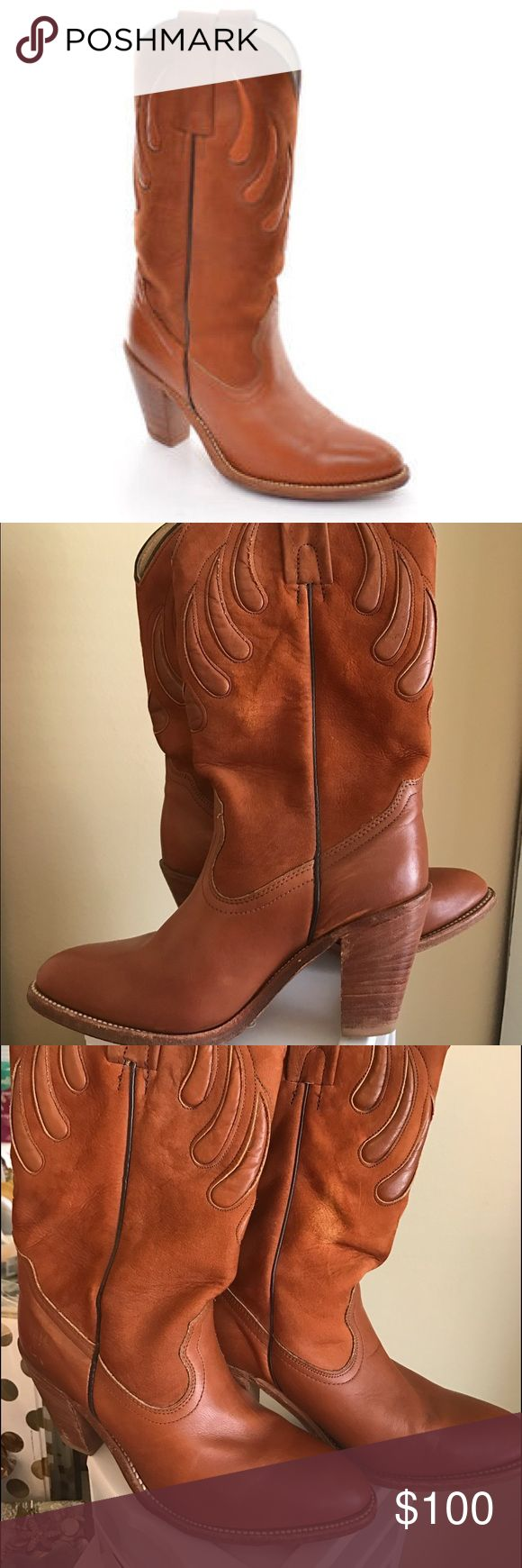 FRYE 7075 Ladies 7 B Cowboy Vintage FRYE 7075 Made in USA Ladies 7 B Cowboy BOOTS Brown Leather Pull Up HEEL Vintage,size 8.5  in used condition some marks in soles and heels Frye Shoes Heeled Boots