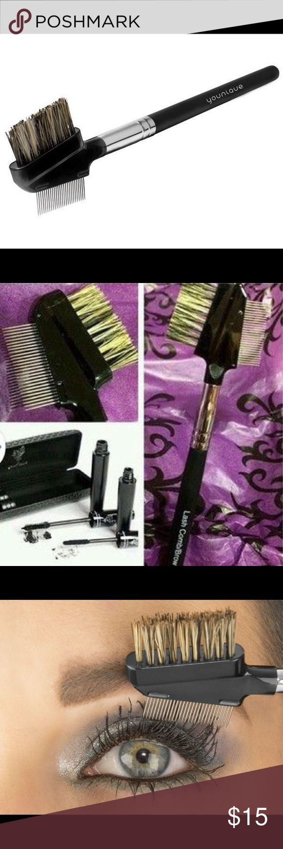 🌟NEW🌟 Lash Comb/Brow Brush Bundle with 3D Lash Mascara & save 10%!   Show those brows who's boss and keep your lashes in line with a Lash Comb/Brow Brush that tames, separates, and keeps clumps at bay. Made with boar hair. Directions:  Comb your lashes while moving up, out, and away from eyes. Younique Makeup Brushes & Tools