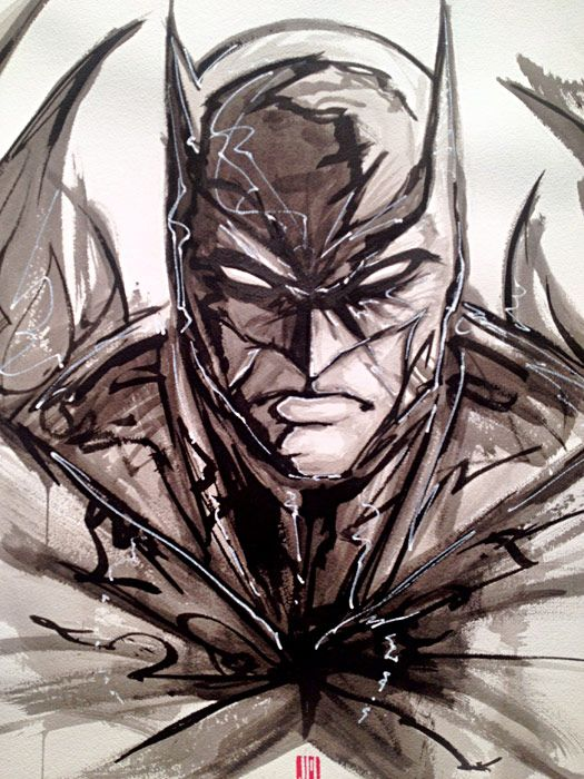 "Batman /// via DC Comics' Art Exhibit, 'Darkness and Light' ... Part of their, ""We Can Be Heroes"" charity campaign."