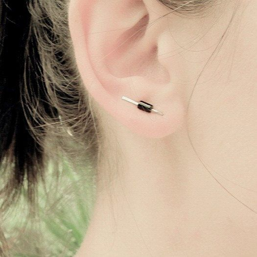 Delicate ear climbers with onyx surgical steel ear by LotkaArt