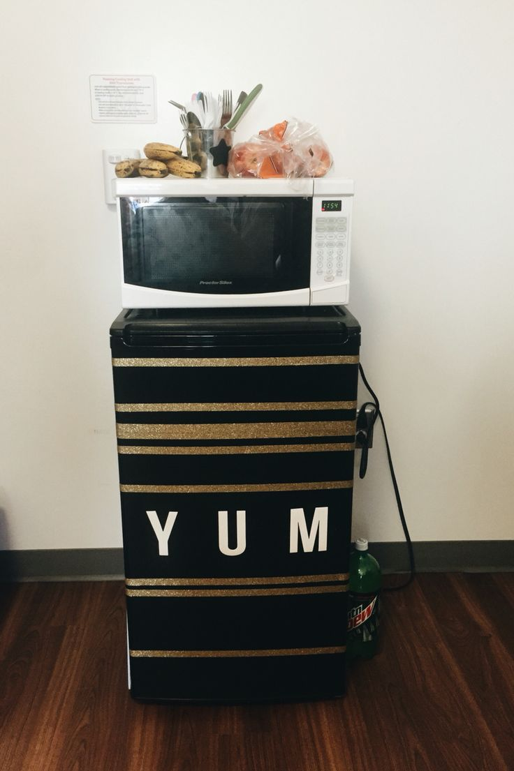 Cheap DIY dorm mini fridge. Just as easy as Washi tape for the stripes and the letters are from the dollar section in target!!