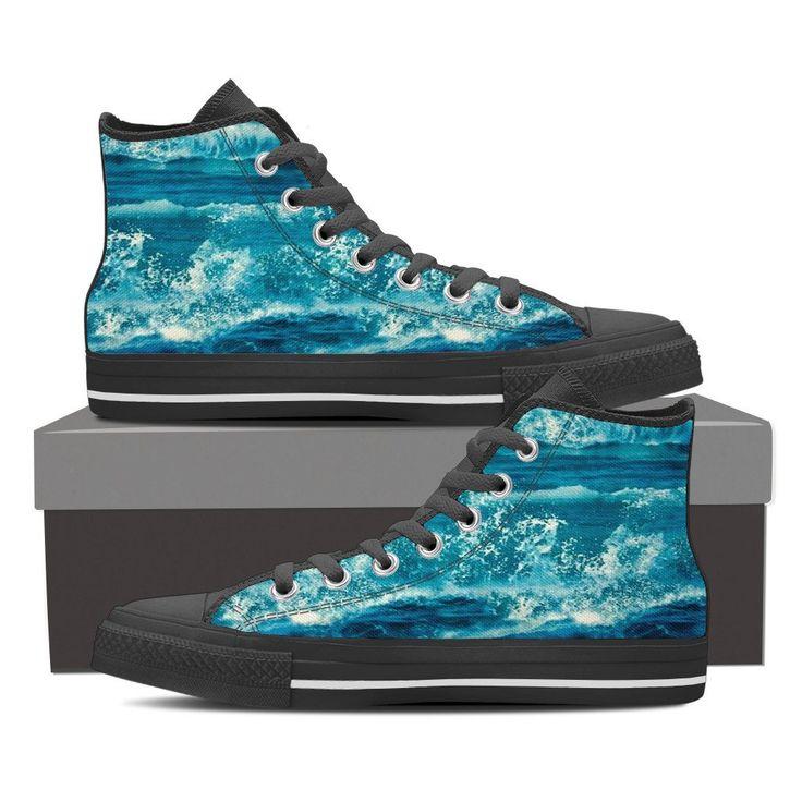 Blue Splash Ladies High Top Black Tennis Shoes