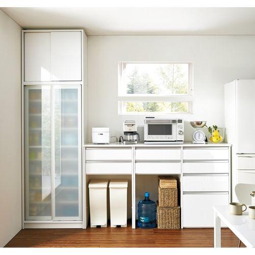 ごみ箱収納スペース付き 下オープンキッチンハイカウンター 幅120cm 画像