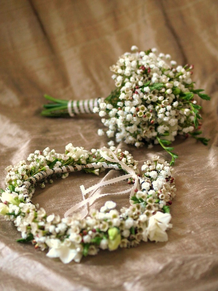 wax flower and baby's breath, good for flower girls, coronet and bouquets