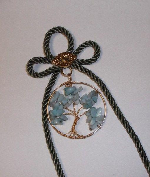 γουρι δεντρο ζωης επιχρυσο αβεντουρινη 20Χ6 -tree of life gold plated metal aventourine stone