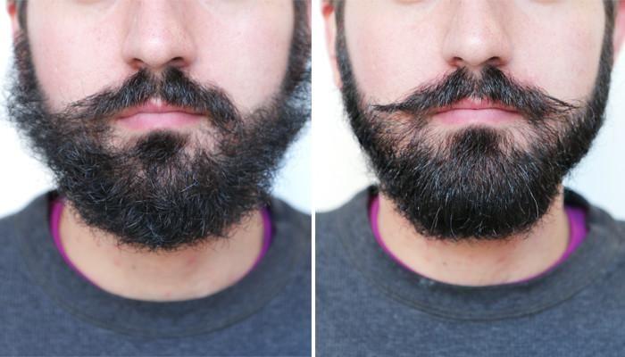 antes y después de usar aceite y bálsamo para barbas
