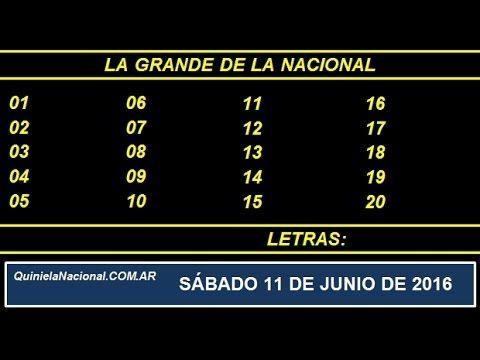 La Grande de Loteria Nacional Sabado 11 de Junio de 2016 www.quinielanacional.com.ar
