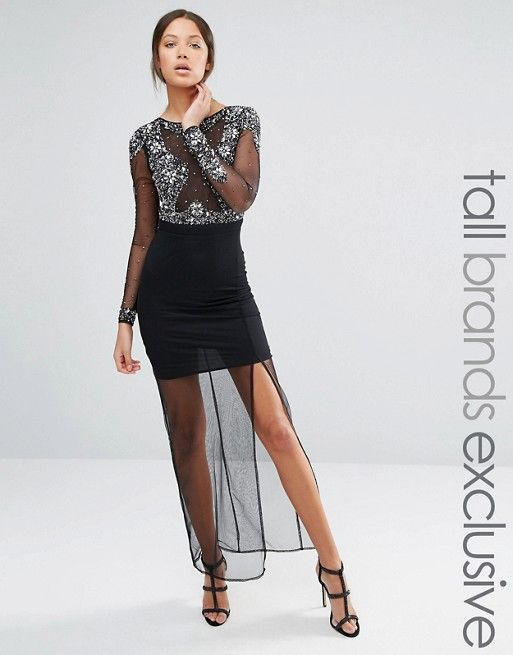 Maya Tall | Maya Tall All Over Mesh Maxi Dress With Embellished Bodice Detail