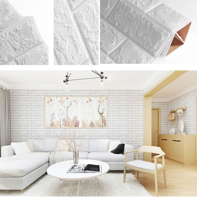 PE Foam 3D Self Adhesive DIY Panel Wall Stickers Home Decor Embossed Brick Stone
