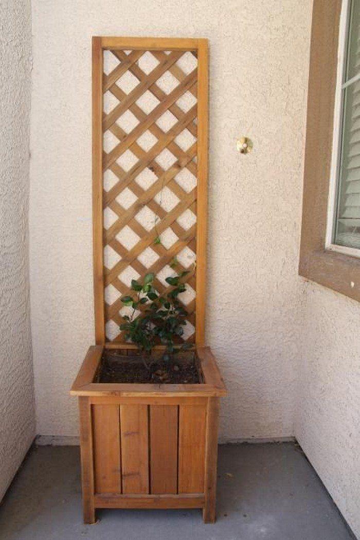 Garden Grow Box And Trellis Combo Cedar Planters Wooden Planters With Trellis Diy Planters