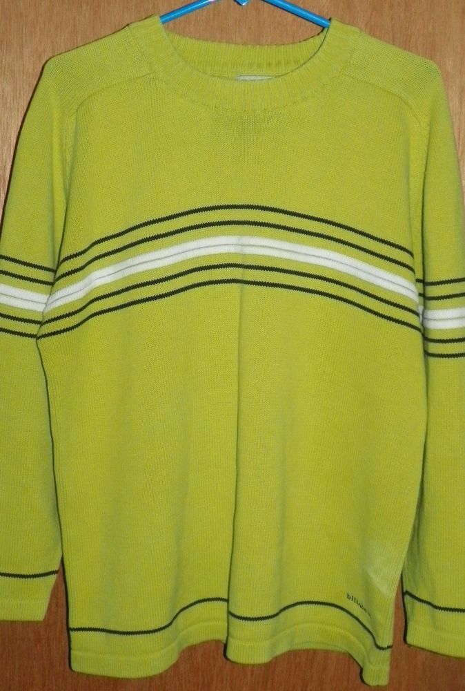 Billabong Green Pullover Sweater With Blue White Stripes Mens Size M
