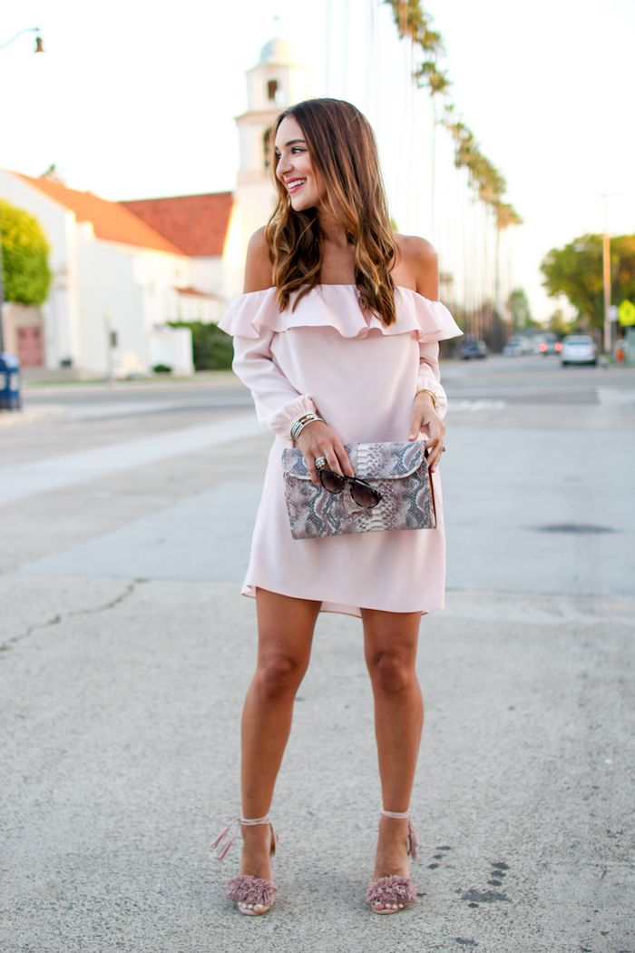 Ruffled Pink Off the Shoulder