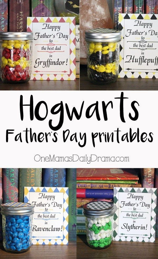 Hogwarts Father's Day printables from OneMamasDailyDrama.com | Calling all Harry Potter fans! Is Dad a Gryffindor, Hufflepuff, Ravenclaw, or Slytherin? Let him know he's the best dad in his house with this fun and easy Hogwarts Father's Day printable and