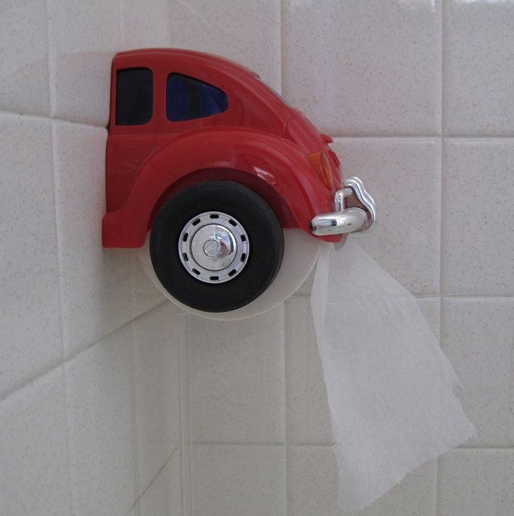 Red VW Beetle Toilet Paper Holder from the 80s by BetsyOldAndNew, $10.00