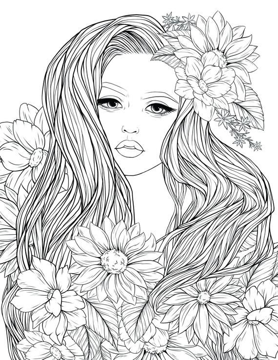 Ladyflowers By Anniecoloring Premium Digital Art For You This