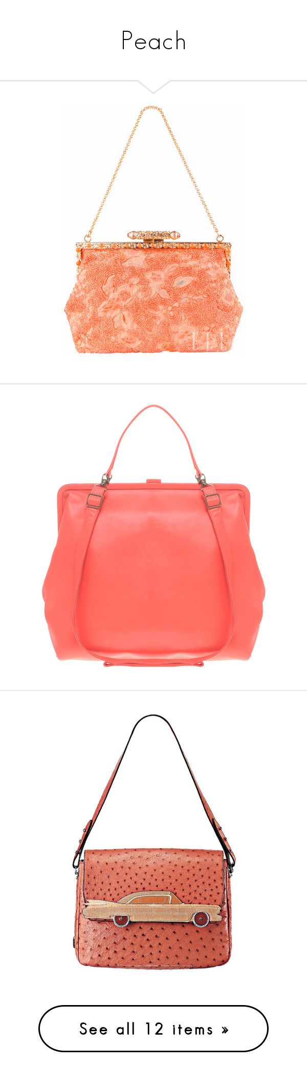 """""""Peach"""" by vilen ❤ liked on Polyvore featuring bags, borse, handbags, women, square purse, embossed leather purse, red purse, top handle leather handbags, red handbags and marc jacobs handbags"""