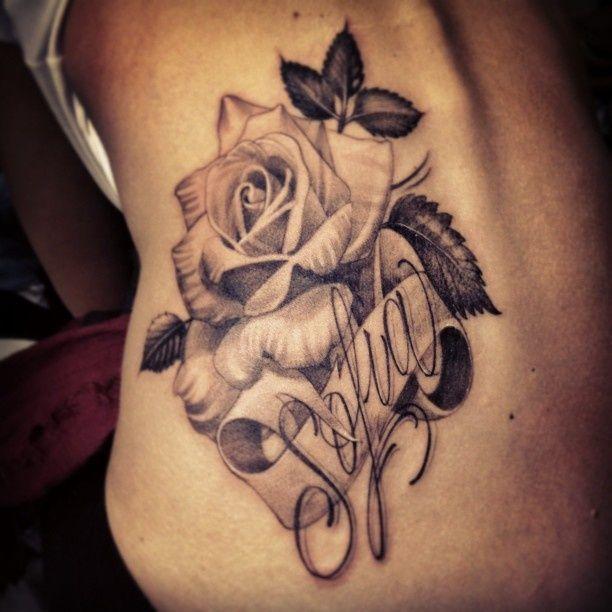 Black and Gray Rose and Script Tattoo - Antonio Macko Todisco http://tattoosflower.com/black-and-gray-rose-and-script-tattoo-antonio-macko-todisco/