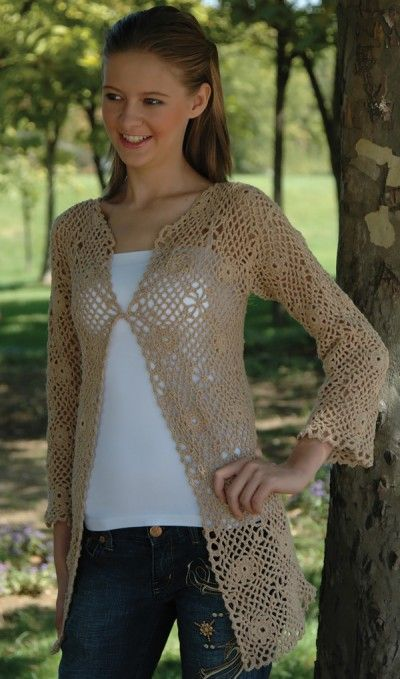"""Free Universal Yarn Pattern : Fantastic Jacket- haven't read the pattern yet. Hope motifs are """"join as you go""""."""