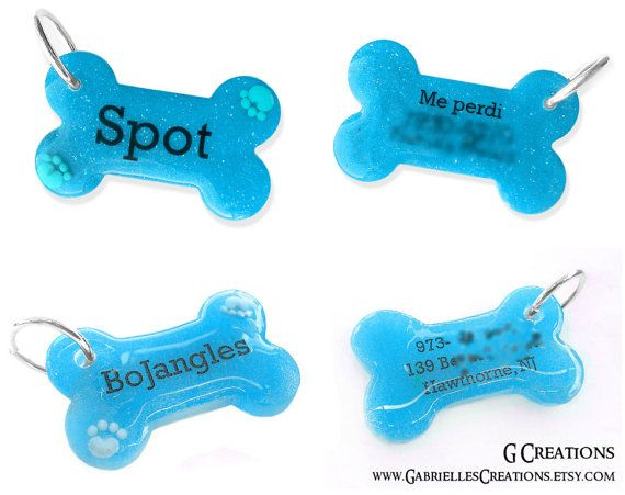 Blue Bone Dog Tag with Paws  Night Glow  by GabriellesCreations