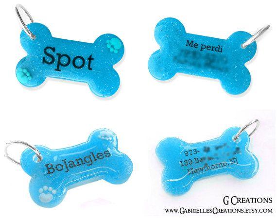Blue Bone Dog Tag with Paws  Night Glow  by GabriellesCreations