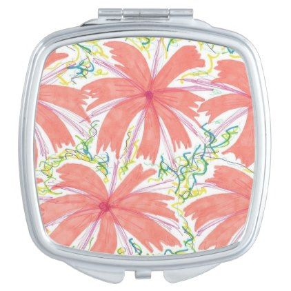 #flower - #Sunburst Tropical Flower Compact Mirror For Makeup