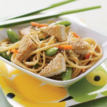 Asian Noodle Salad with Sesame Tofu Bites | Recipe