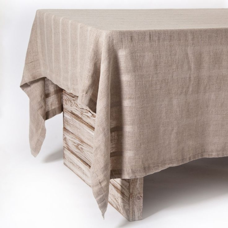 "Gracie - Bark - Large Tablecloth (69"" X 128""), Brown (Linen, Stripe)"