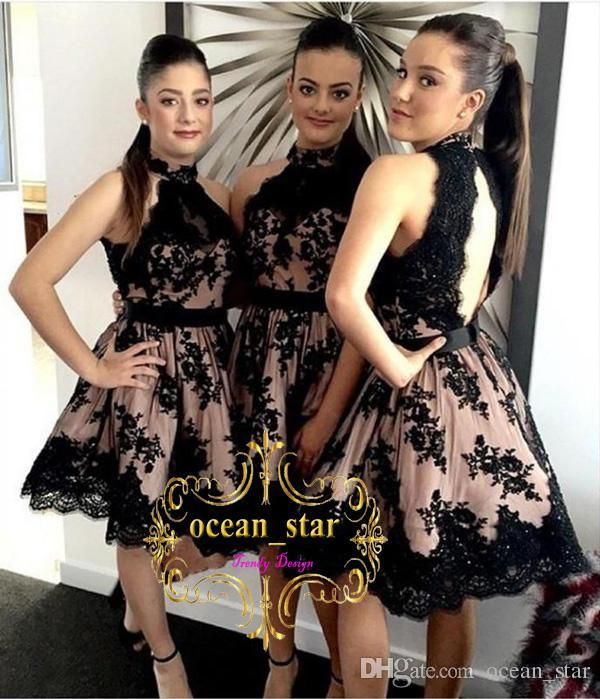 Elegant Black Lace A Line Bridesmaid Dresses High Neckline Appliques Sleeveless Open Back Knee Length 2017 Short Evening Party Gowns Mocha Bridesmaid Dresses Modest Bridesmaid Dresses With Sleeves From Ocean_star, $75.98| Dhgate.Com
