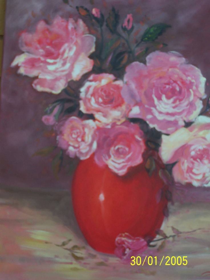 Roses and red vase