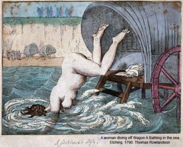 A woman diving off a bathing wagon in to the sea. Coloured e