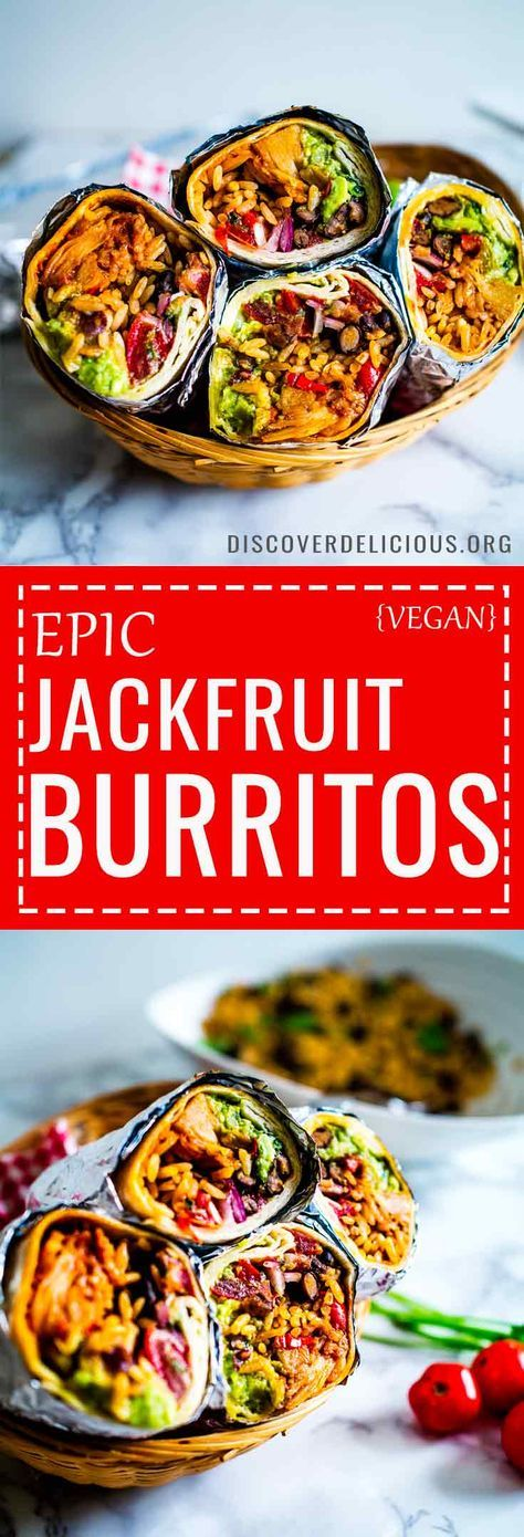 These epic vegan Jackfruit Burritos are filled with mexican rice, guacamole, refried black beans, pico de gallo and bbq jackfruit! Sumptuously satisfying and perfect to make over the weekend or as meal-prep! #recipes #recipe #burrito #fajita #healthy